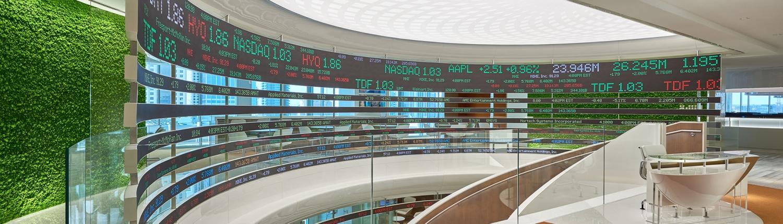 News ticker at Asharq News in Dubai