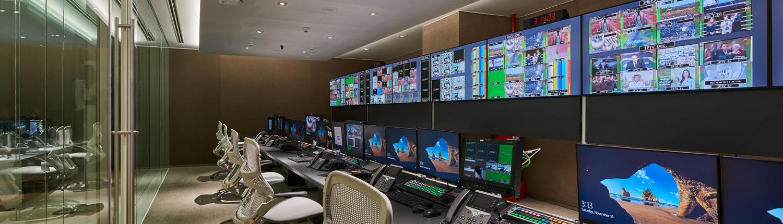 Video control room at Asharq News in Dubai
